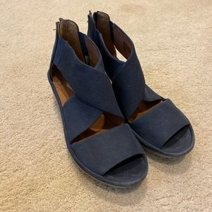 Clarks Clarence Blue Nubuck Wedge Sandals